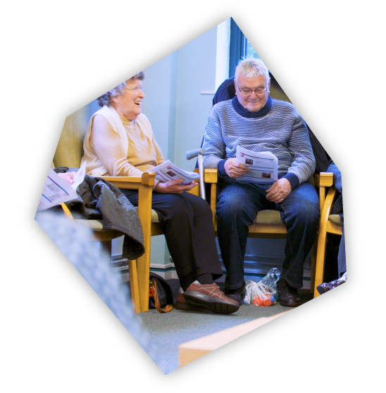 A cube cutout image of a Being There meeting.