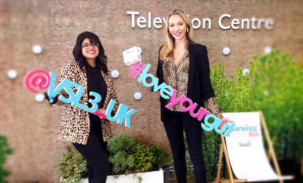 VSL3 employees posing in front of Television Centre