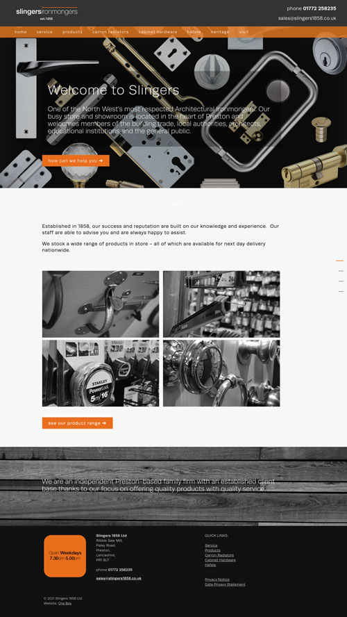 Slingers 1858 home page web design layout