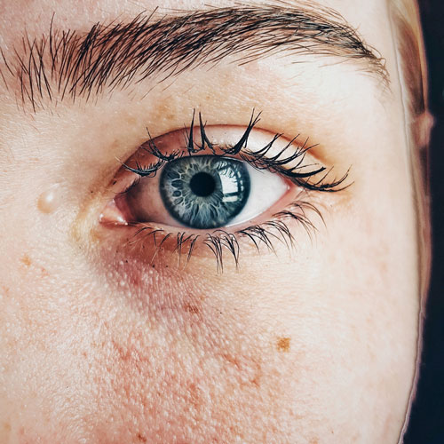 A close up of a woman's eye.