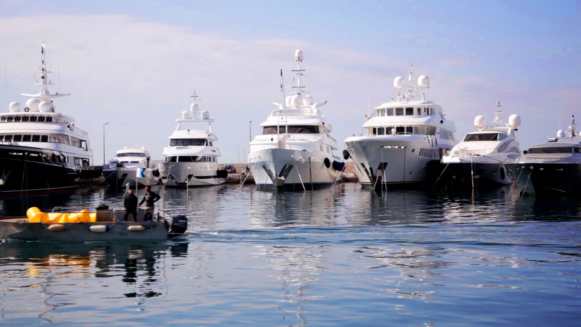 A harbour boat scene video
