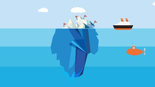 An animation of an iceberg