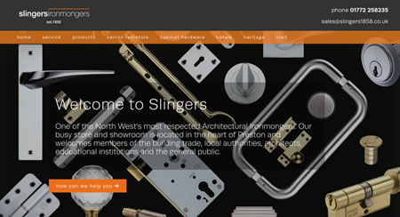 Slingers 1858 Services page layout