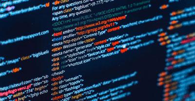 A close up of website design code