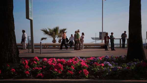People walking along the promenade in Cannes
