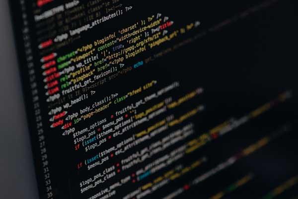 A closeup of website design code
