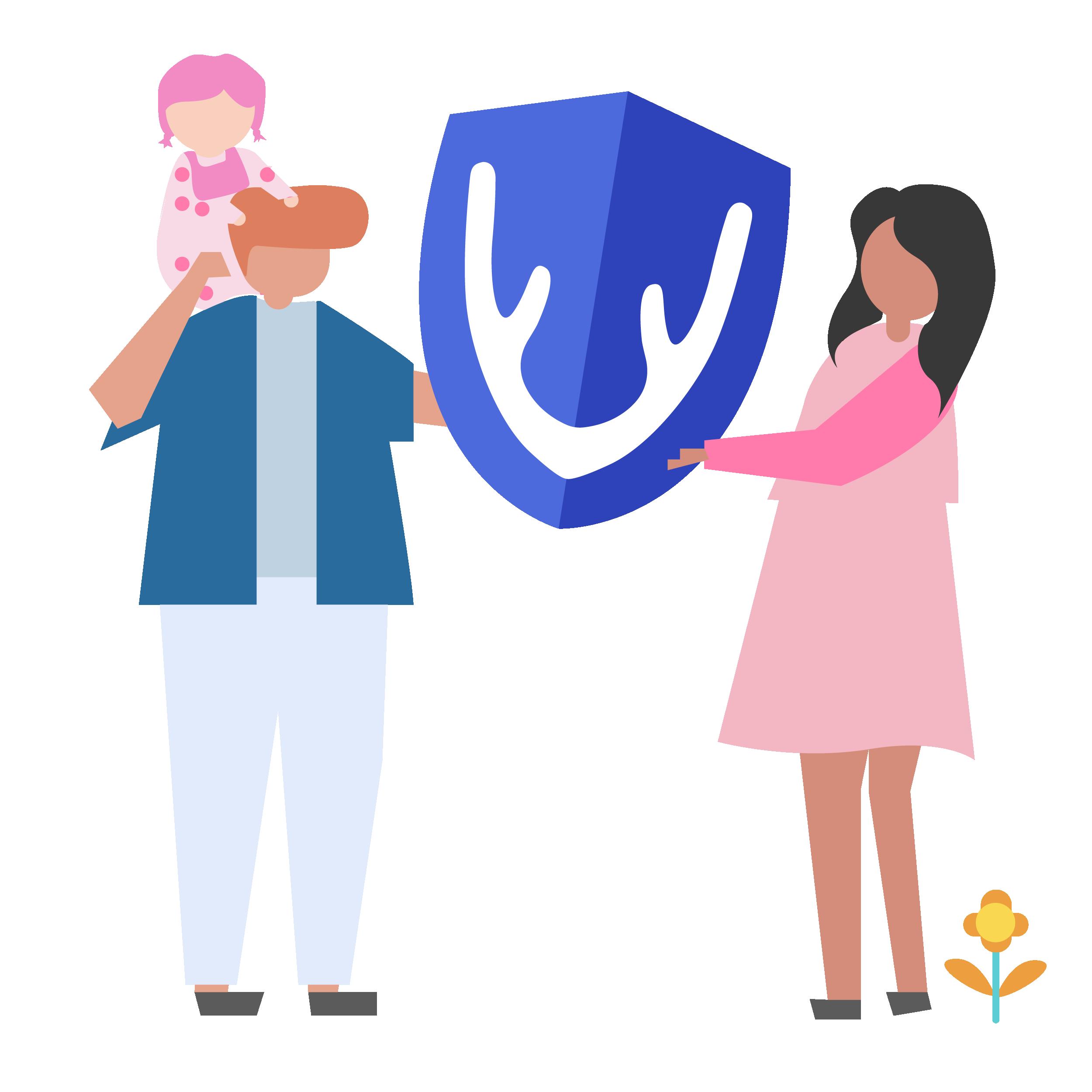 Family holding Caribou logo