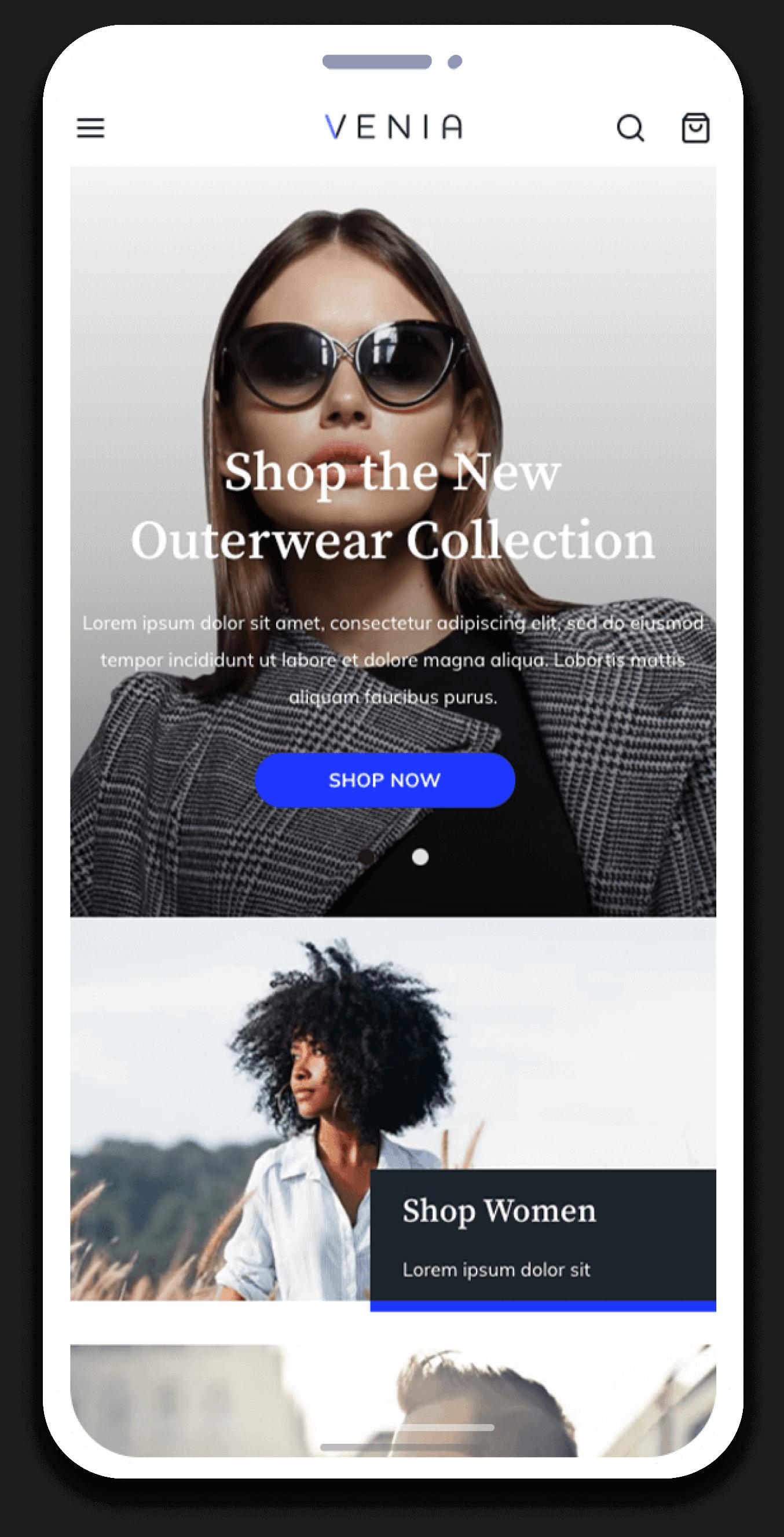 eCommerce venia onectus mobile pwa