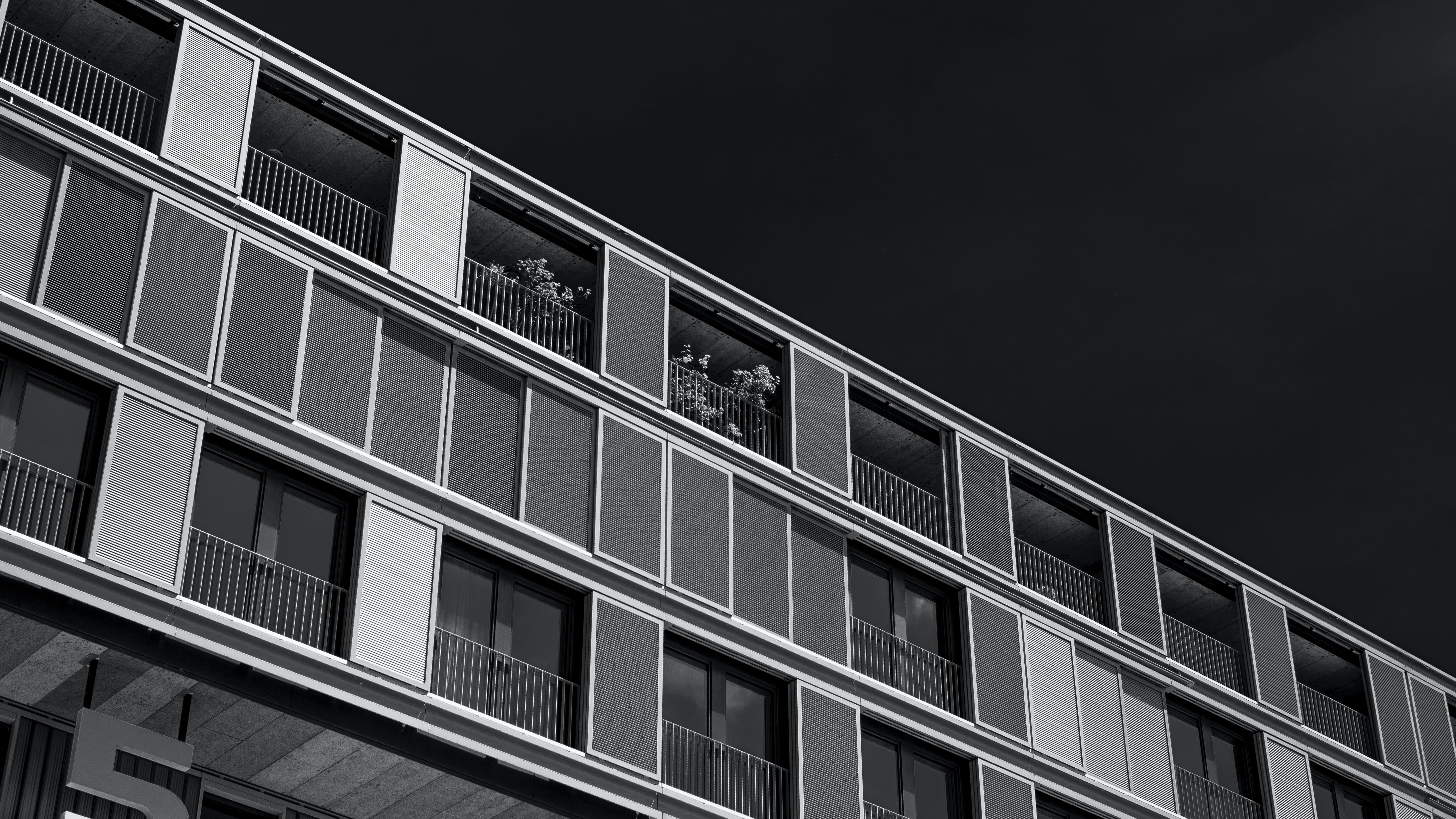 Black and whit photo of hotel