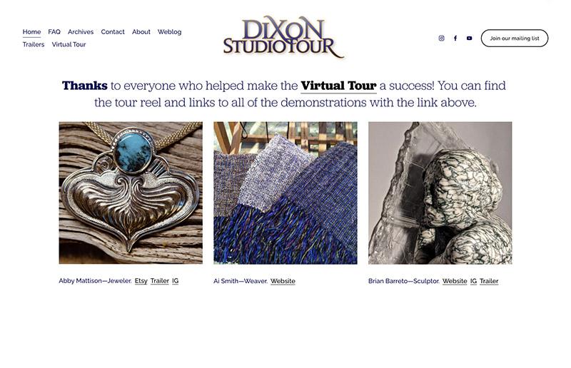 Dixon Studio Tour Website