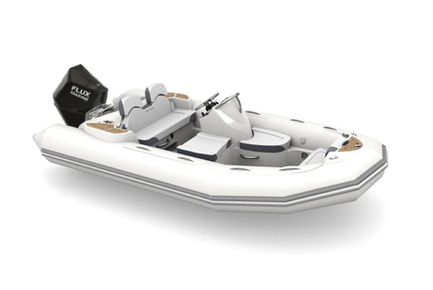 Three-quarter view of inflatable boat.