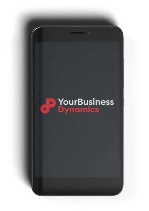 A phone with Digital Marketing agency Your Business Dynamics Logo