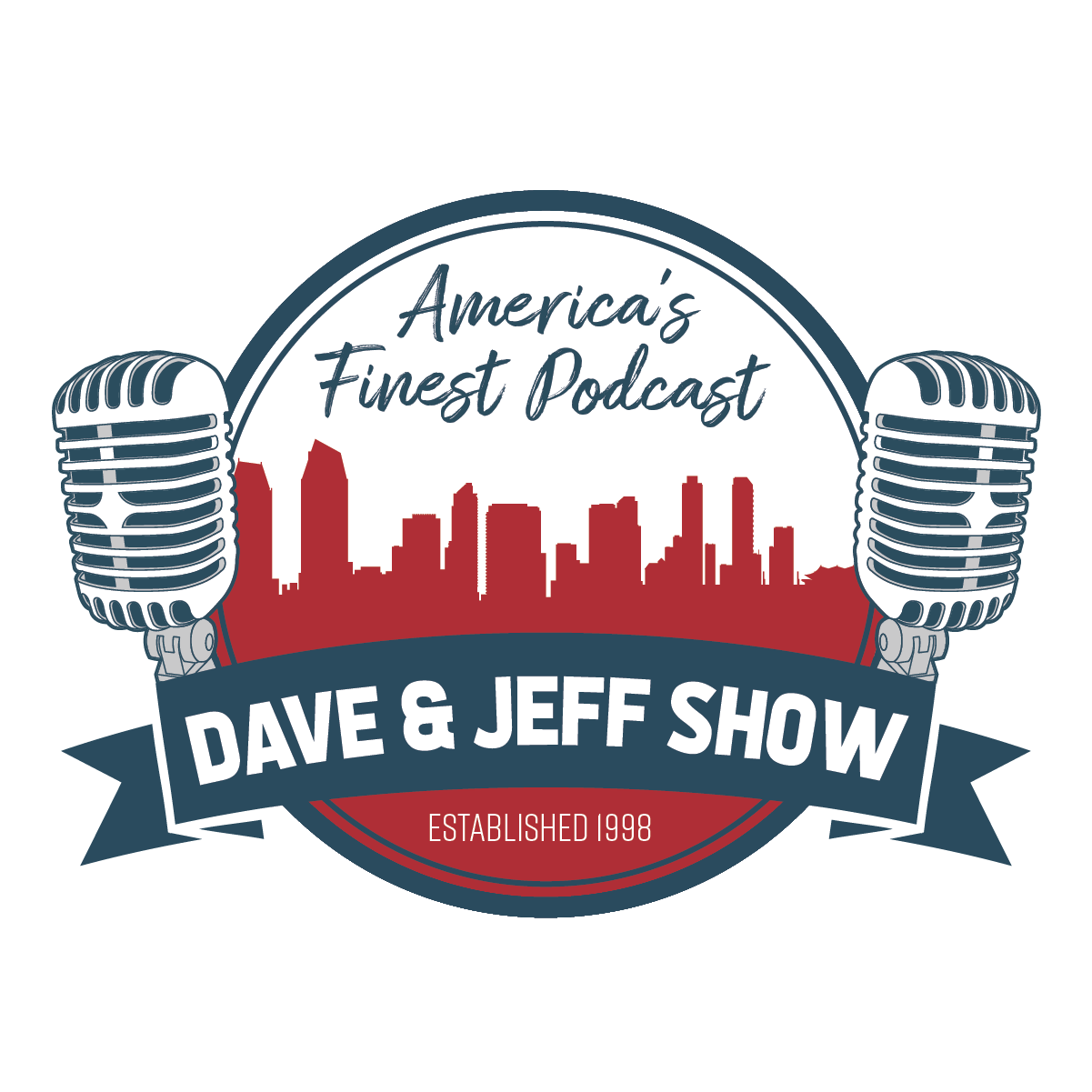 Dave & Jeff Show Logo. A red silhouette of San Diego between two microphones