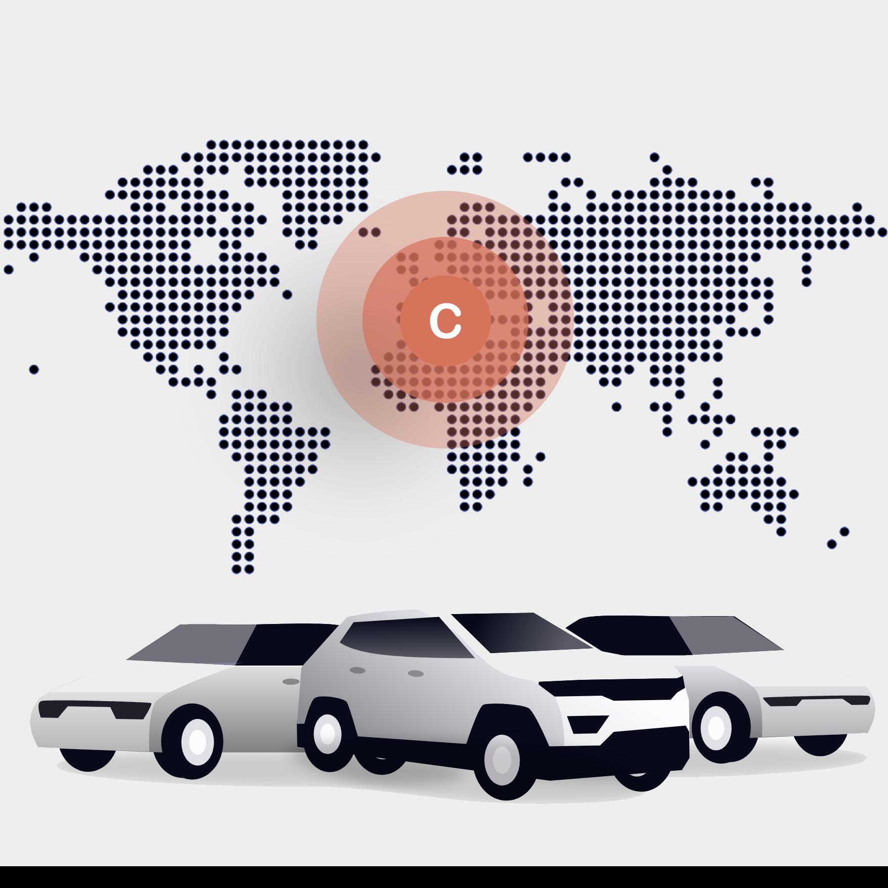 Illustration de voitures devant une représentation du monde