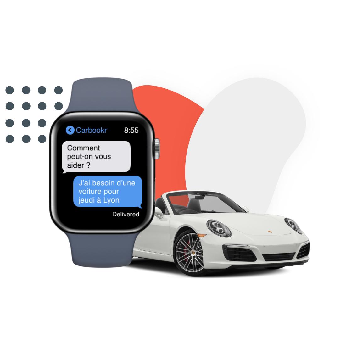 Montre connectée affichant les messages du voiturier et voiture de luxe