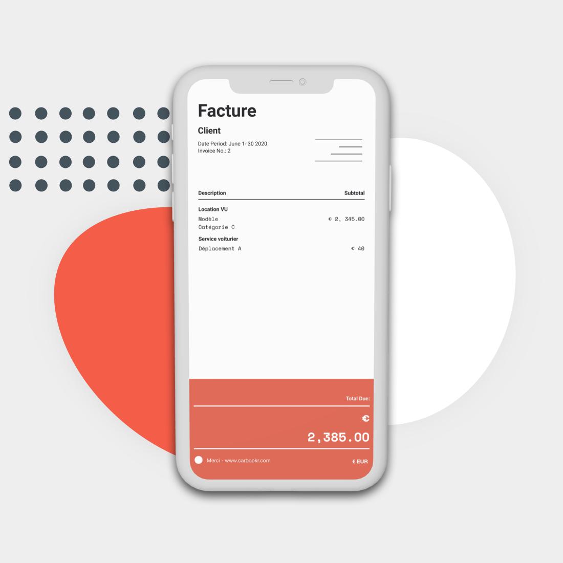 Exemple de facture dans un smartphone
