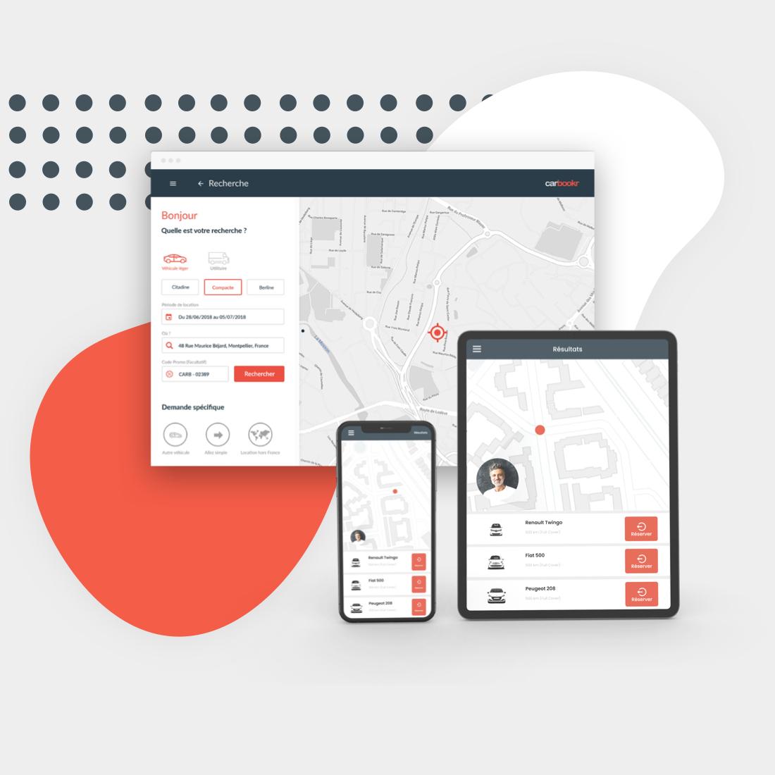Captures d'écran de Carbookr sur ordinateur, tablette et smartphone