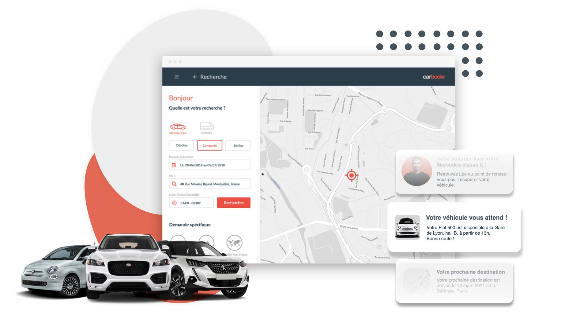 Illustration de la plateforme de location de voitures