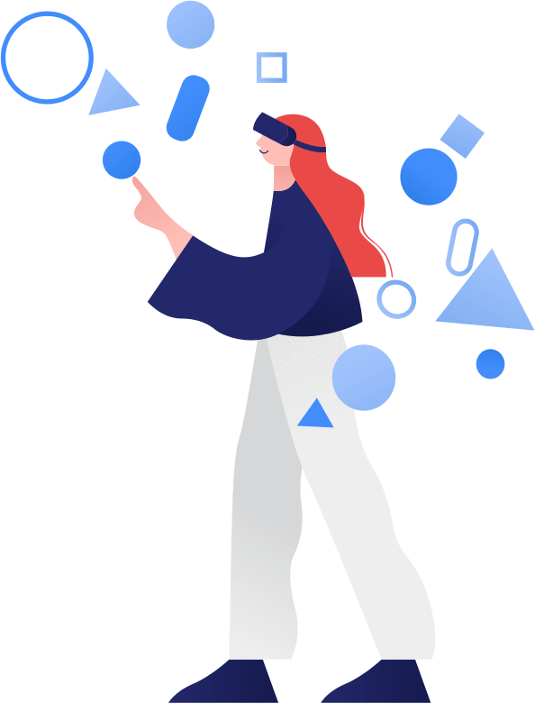 Illustration of a person using a virtual reality headset device