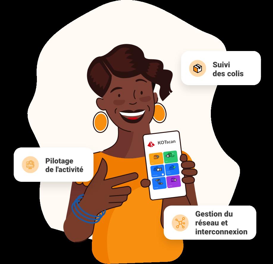 Cliente kotscan montrant les possibilités de l'application
