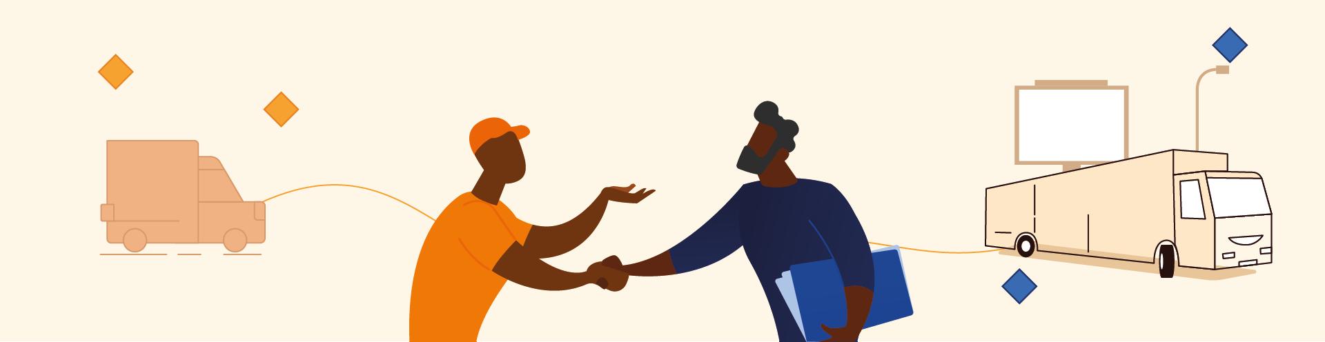 Employé Kotscan serrant la main à un partenaire
