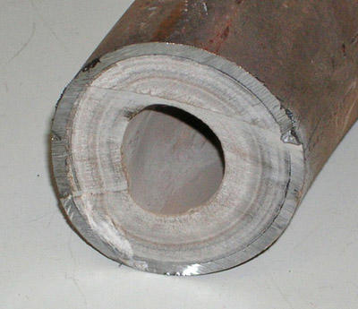 A pipe with limescale buildup