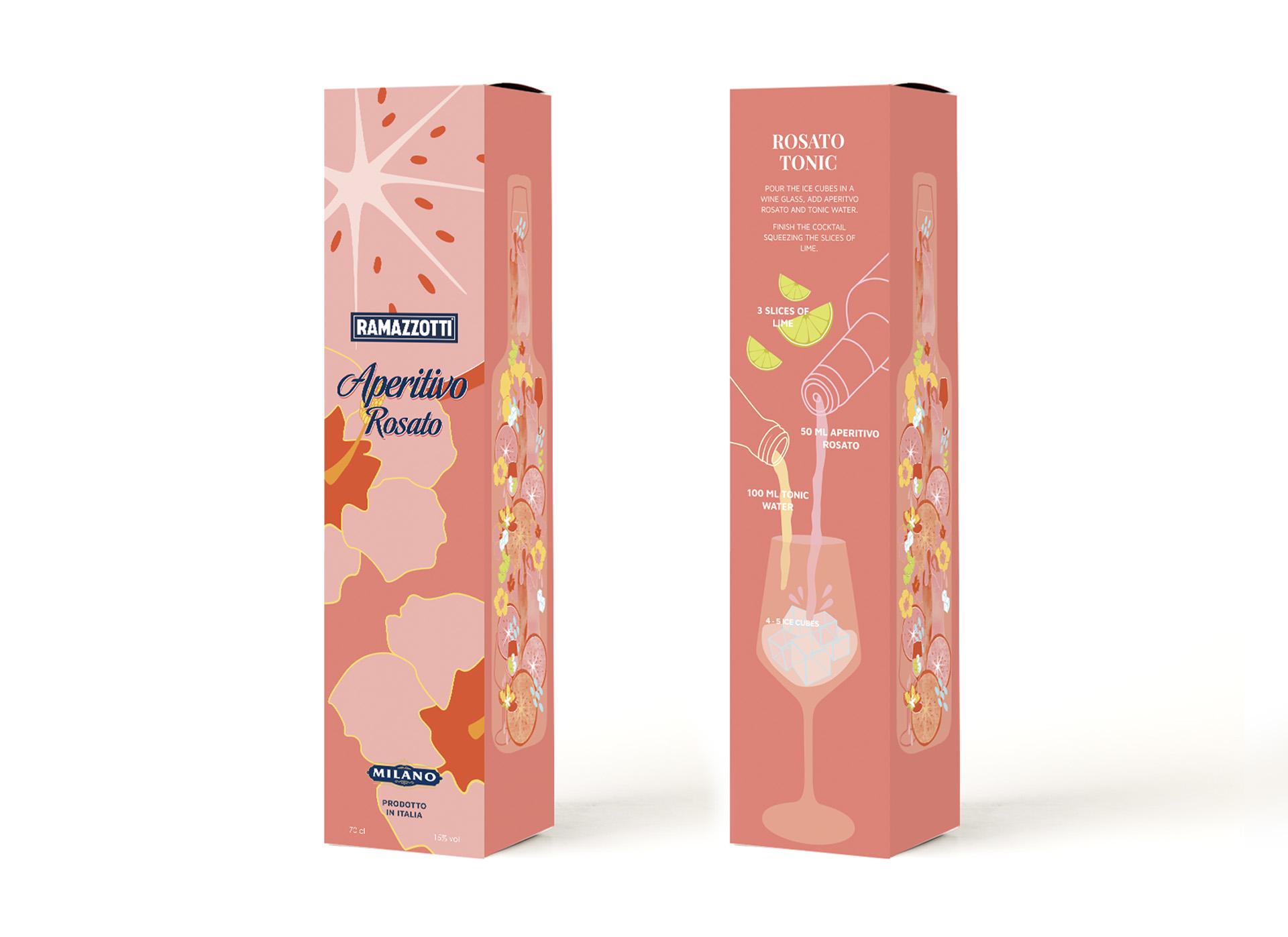 Ramazzotti Aperitivo Rosato Packaging Design by Magdalena Weiss