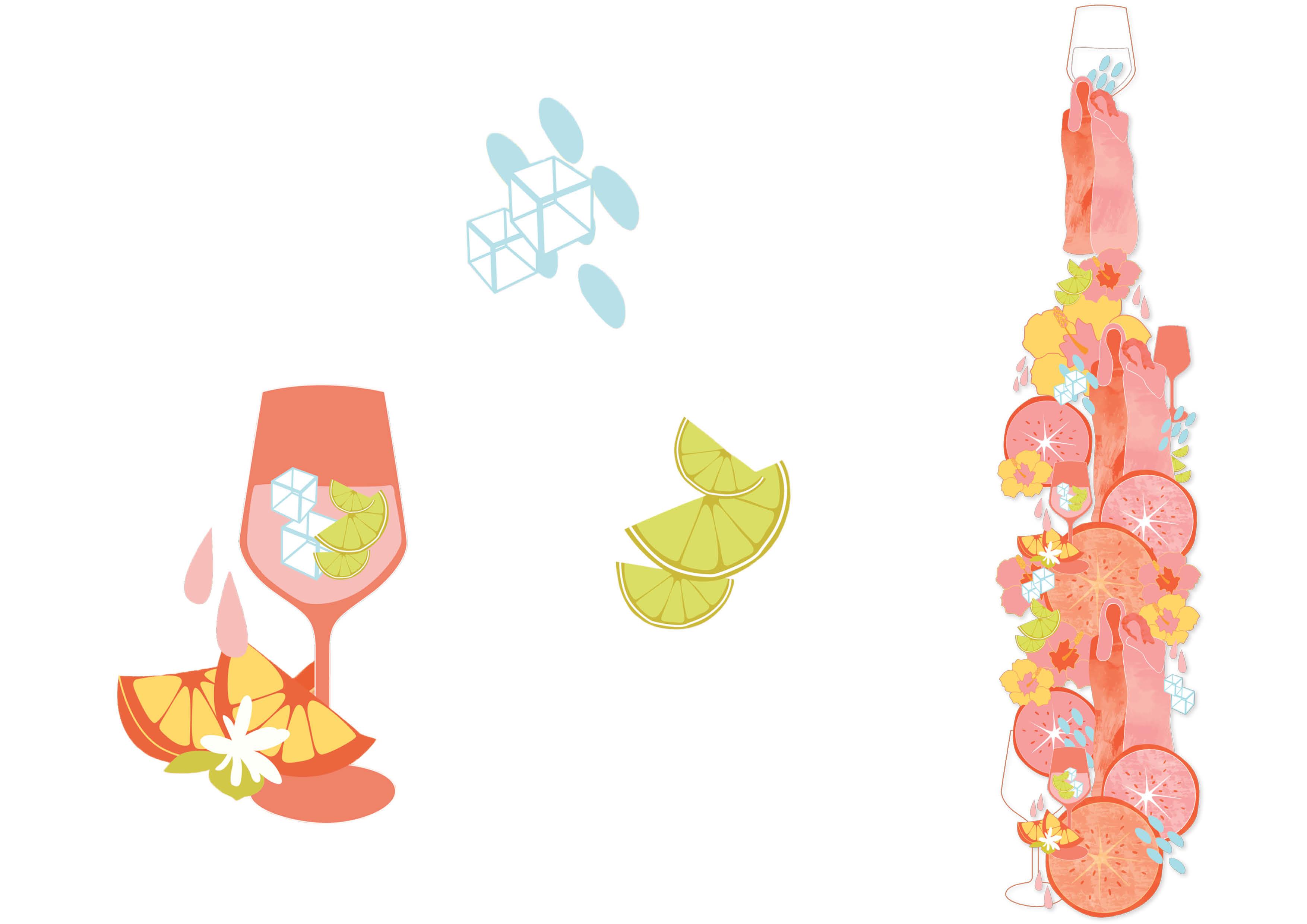 Ramazzotti Aperitivo Rosato Packaging Design - Illustrations by Magdalena Weiss