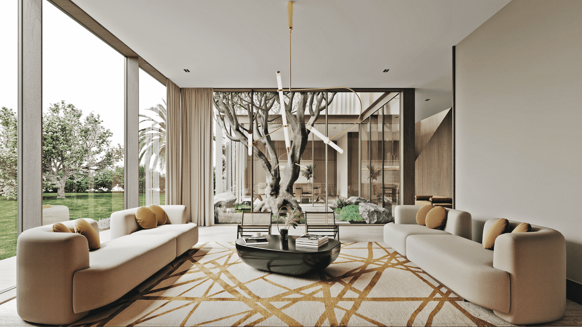 a superb living room in a high tech house