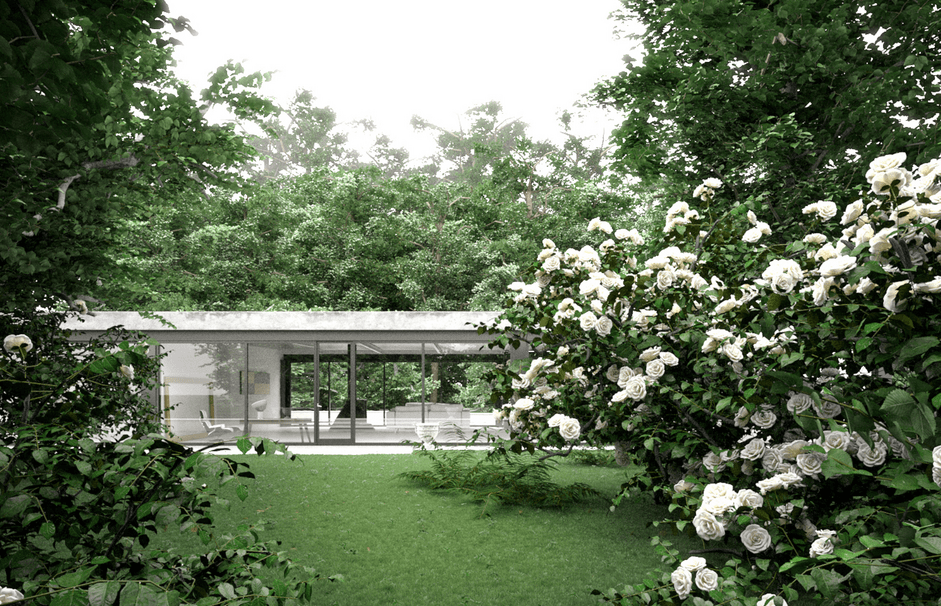 a modern house and a beautiful garden with trees and flowers