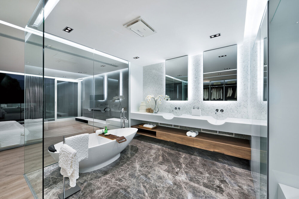 modern bathroom with marble