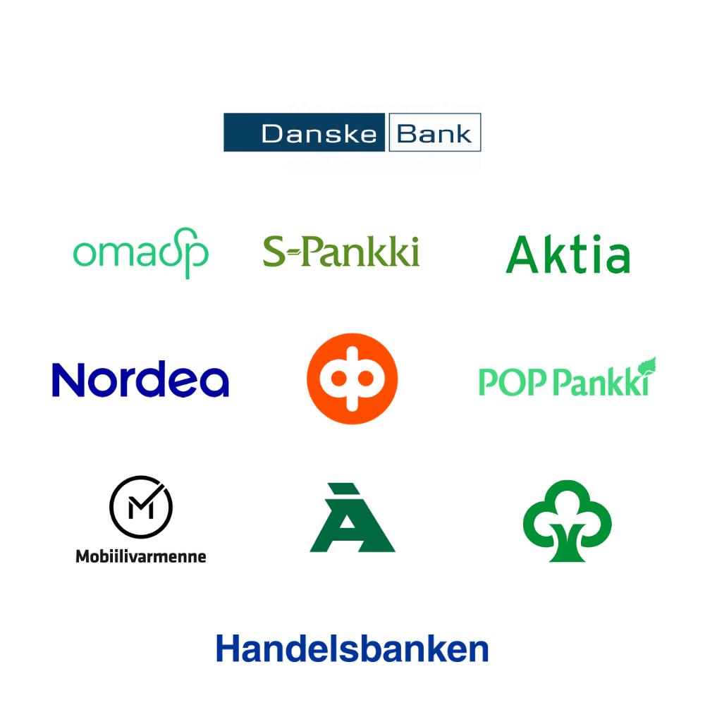Kuva kaikista verkkopankkitunnistautumiseen soveltuvista pankkiohjelmista