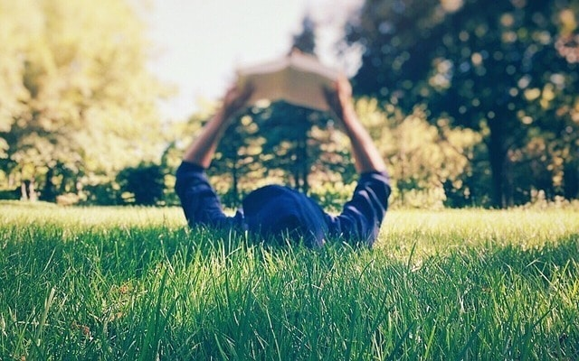 reading on grass