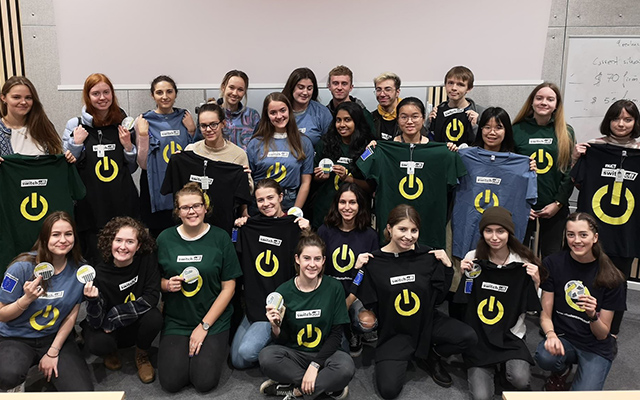 A group of Student Switch Off volunteers wearing their branded t-shirts
