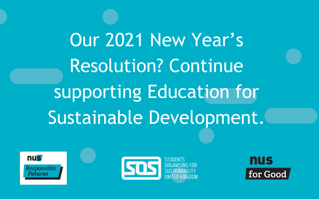 "This image says ""Our 2021 New Year's Resolution? Continue supporting Education for Sustainable Development."" Logos for SOS-UK and its programmes Responsible Futures and For Good are located at the bottom of the image."