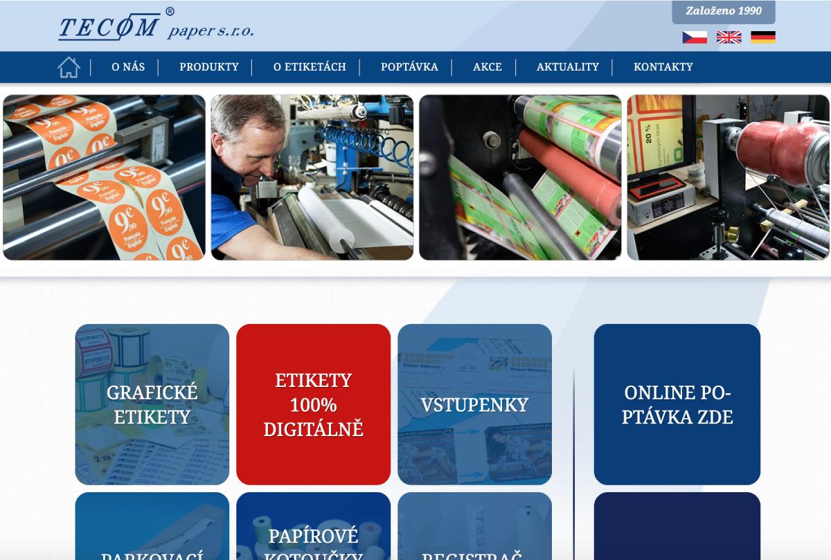 TECOM paper má nové webové stránky