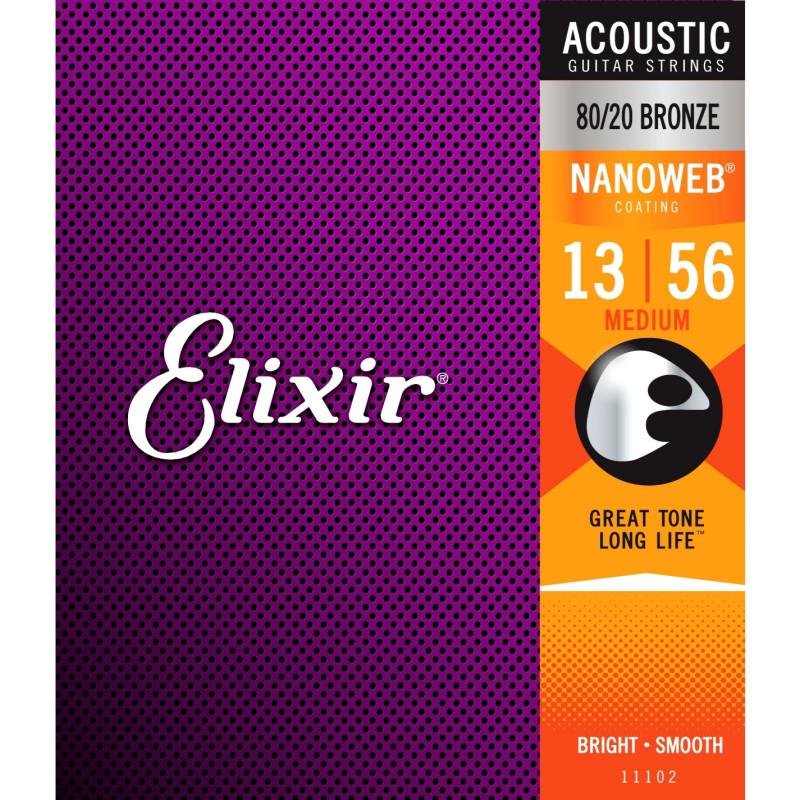 Elixir Nanoweb 80/20 Bronze .013-.056 Medium, set