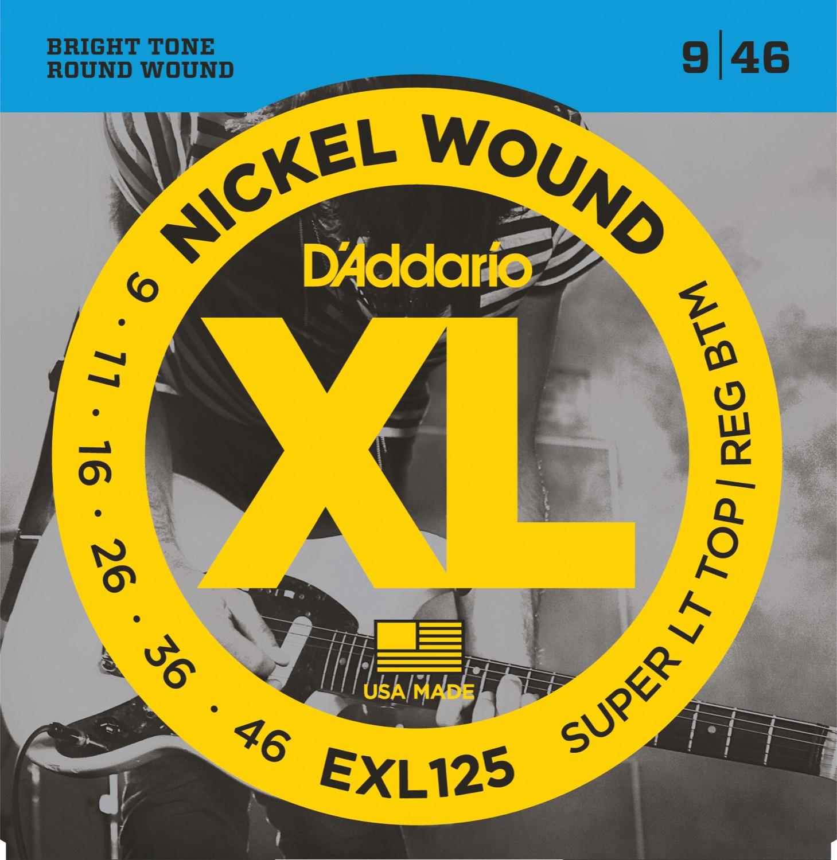 D'Addario EXL125 Nickel Wound, Super Light Top/ Regular Bottom