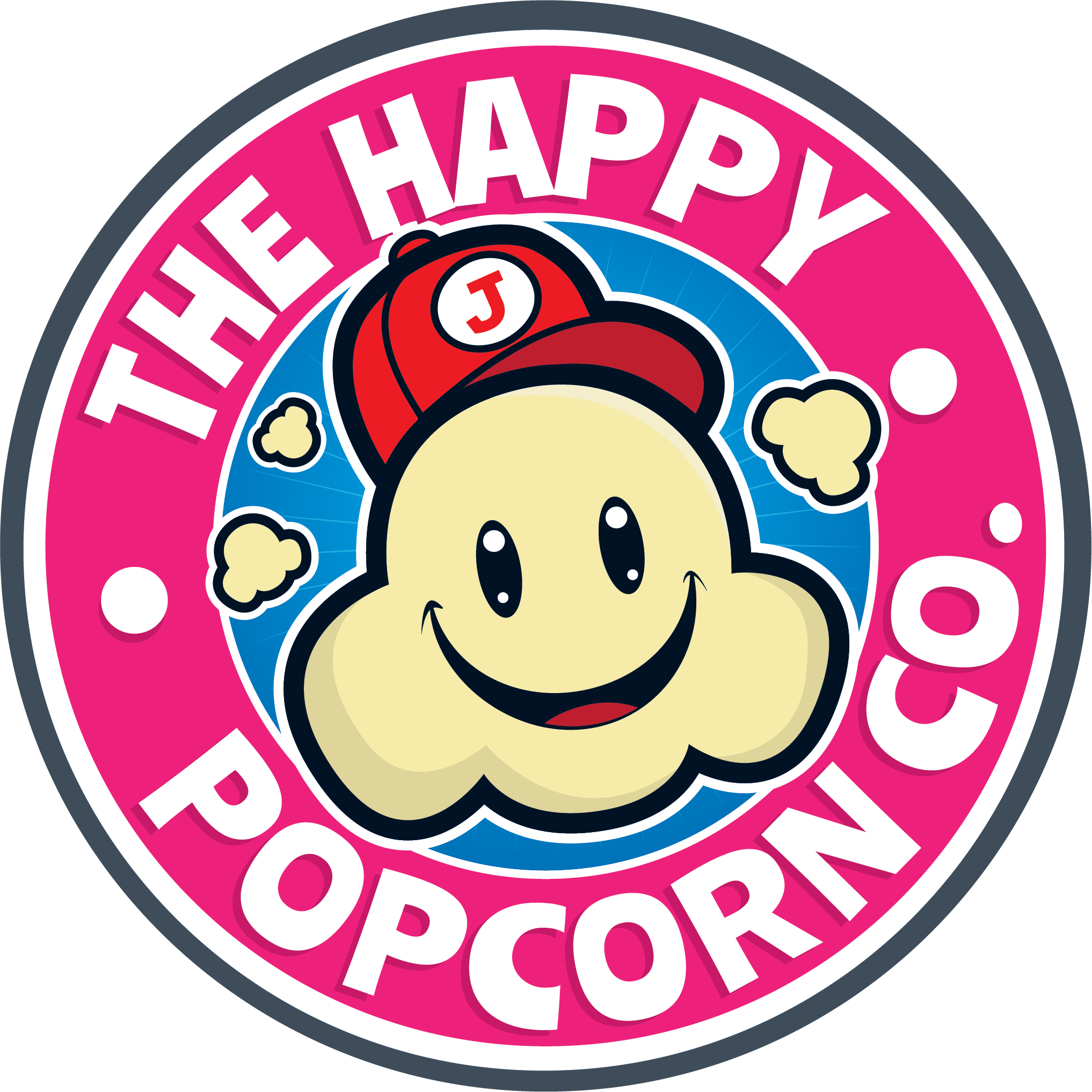 The Happy Popcorn Co Logo - Popcorn mascot with a red hat inside a pink circle