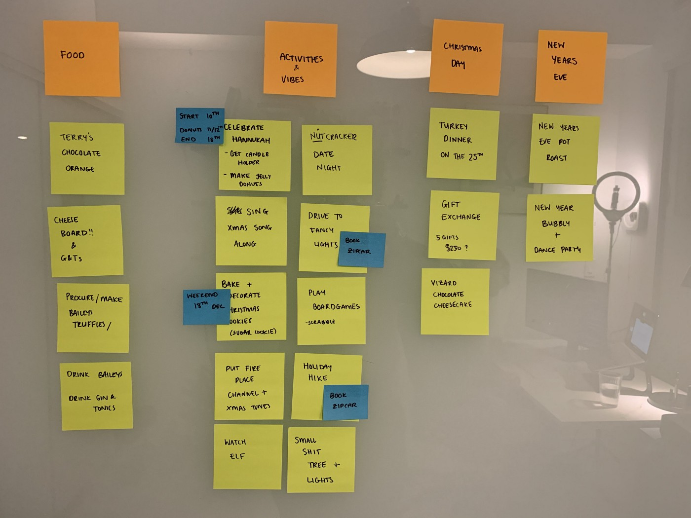 a kanban board of post it notes with the headings food, activities and vibes, christmas day, and new years eve