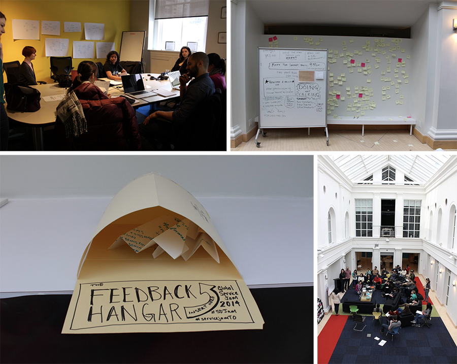 a collage of images from the global service jam including people around a boardroom table, a wall of post its, a feedback hangar envelop for paper planes with feedback written on then, and a photo of the working space
