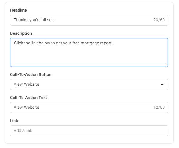 Facebook form details