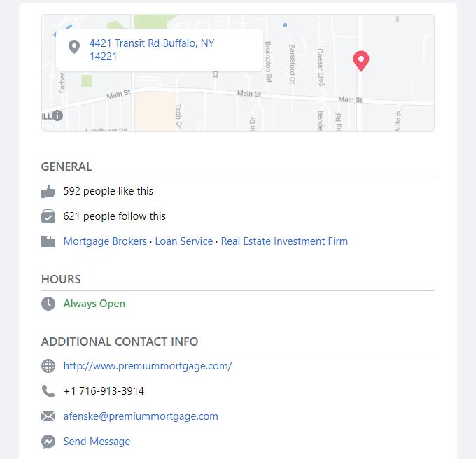 Facebook mortgage broker details