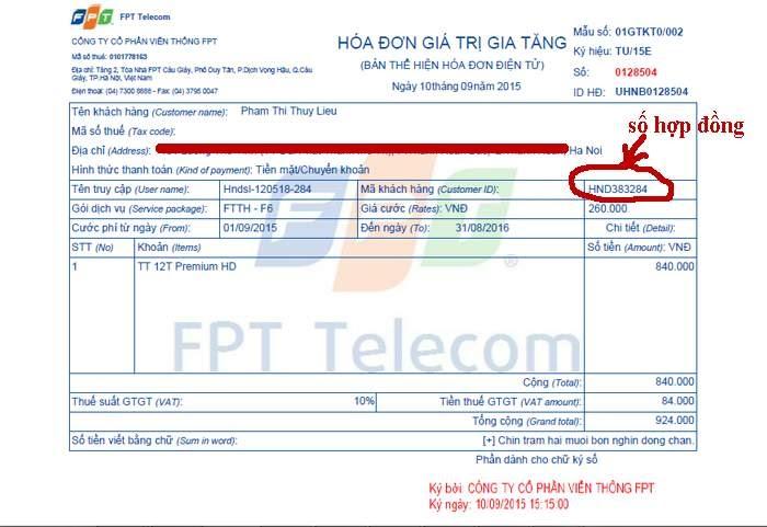 Tra cứu thông tin hợp đồng FPT ngay trên hóa đơn