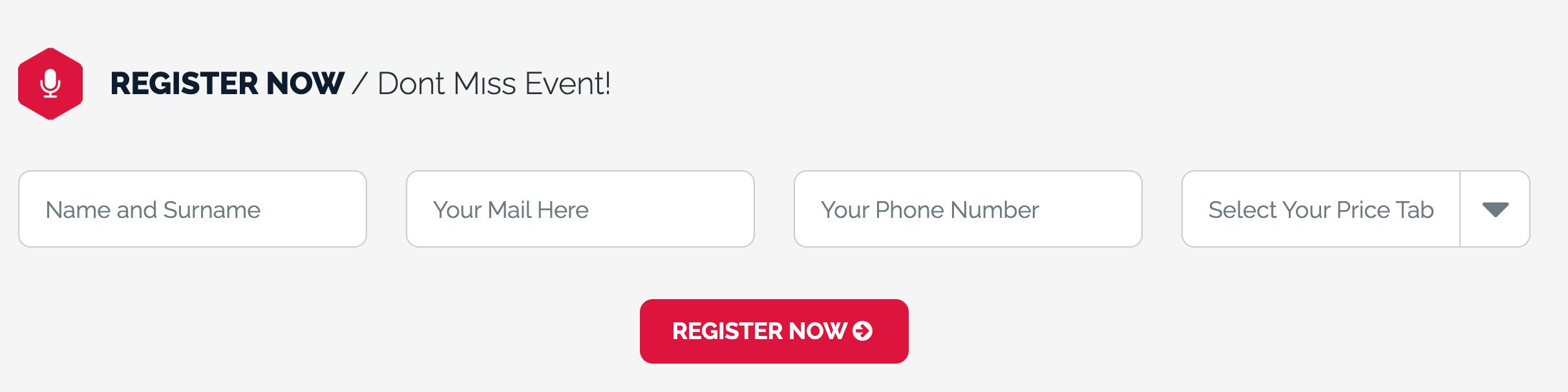 Virtual Event Registrierung durch Website Pop-Up