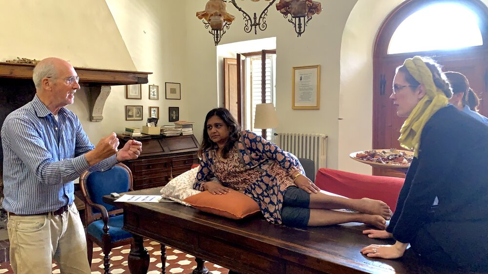 George's Manet - Dr. George Smith, with Nandita Baxi Sheth as Olympia, Samantha Jones as Olympia's cat, and Xenia Hodza as Laure, Olympia's Maid. Spannocchia, 2019. Image courtesy of the author.