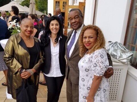 American Embassy in Pretoria, L to R: Dr. Deborah Willis, Liza Goodman from Goodman Gallery, Dr. David Driskell, and Dr. Kellie Jones, art historian. Photo by Pamela Newkirk