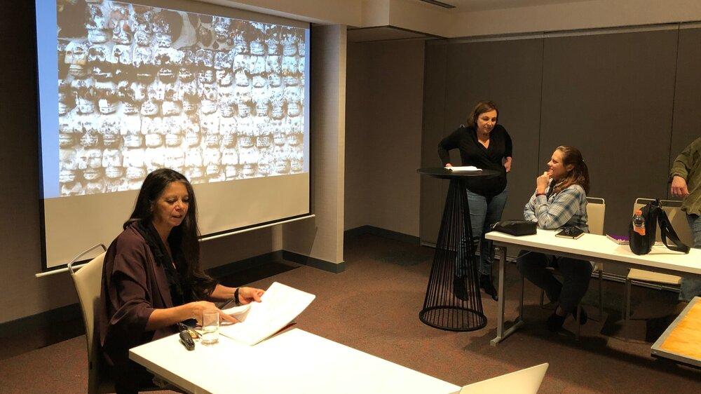 Carmen Boullosa (left) preparing for her lecture in Mexico City, January 2020. Photo by Simonetta Moro.