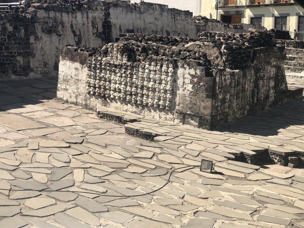 """""""Tzompantli"""" (skull rack) in the Templo Mayor. Photo by Kimberly Aimee Alvarado"""