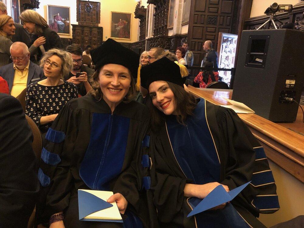 Dr. Christina Barber and Dr. Keren Moscovitch. IDSVA Commencement 2020, Mexico City. Photo by Dr. Simonetta Moro.